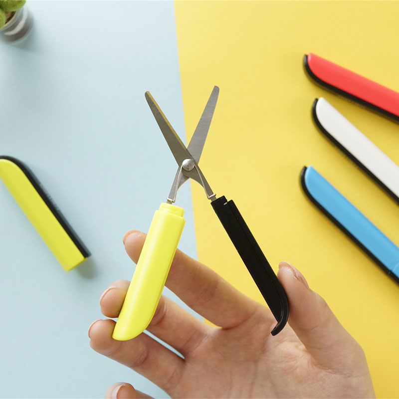 1X Candy Creative Pen Design Student Safe Foldable Scissors Paper Cutting Art Office School Supply With Cap Stationery DIY Tool