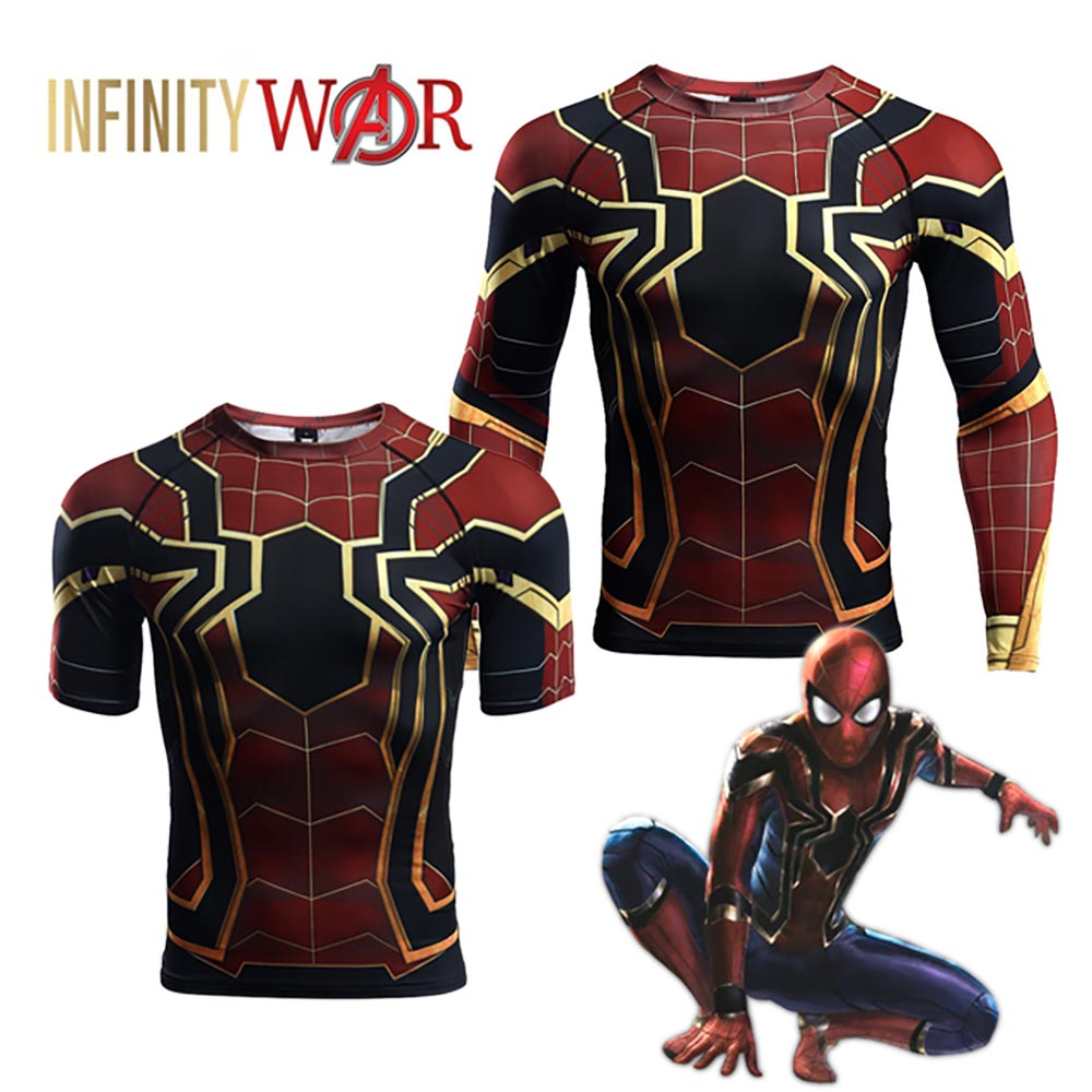 2018 Avengers Infinity War Spider-Man T-Shirts Short Sleeve/Long Sleeve Iron Spiderman Cosplay Summer T-shirt Riding Jerseys