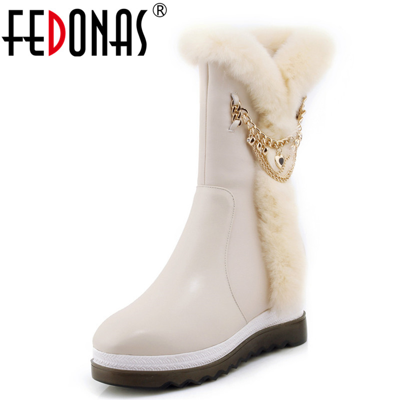 FEDONAS New Fashion Women Fur Warm Snow Boots Wedges Heeled Mid-calf High Winter High Boots Female Round Toe Long SHoes Woman