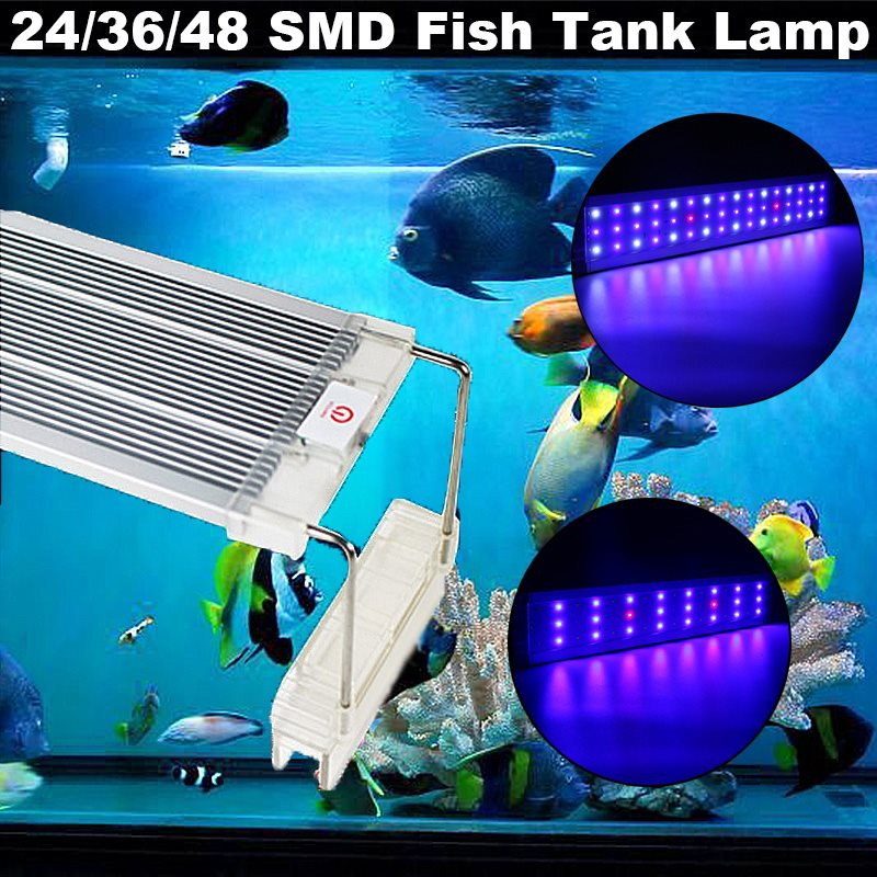 Smuxi 24 36 48 LED Tube Aquarium Fish Tank Light 5730SMD Full Spectrum Grass Lamp LED