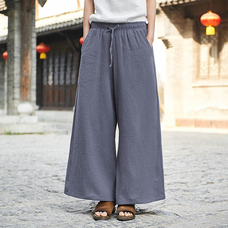 Wide Leg Pants For Women Cotton Linen Belt Trouser Spring Elastic Waist Solid Color Pockets Women Casual Pants