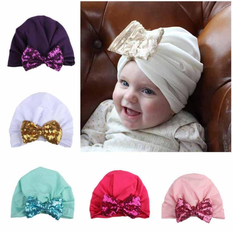 Baby Hat Sequins Bow Baby Girls Hats Princess Baby Girls Caps Newborns Autumn Winter Hats For Girls clothes Accessories Gift D3