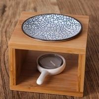 Brief Natural Bamboo Vintage Ceramic Plate Aroma Burner Yoga Essential Oil Candle Fragrance Burner Home Night Light Sent Friends