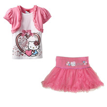 2017 d'été Livraison Gratuite Filles de Bande Dessinée Hello Kitty Imprimer Glitter Paillettes Tutu Mini enfant Enfants vêtements pour fille vêtements ensemble