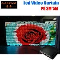 P9 3M*5M Fireproof Led Vision Curtain PC Mode Wedding Stage Backdrop Light Curtain High Quality Make Program Via Computer