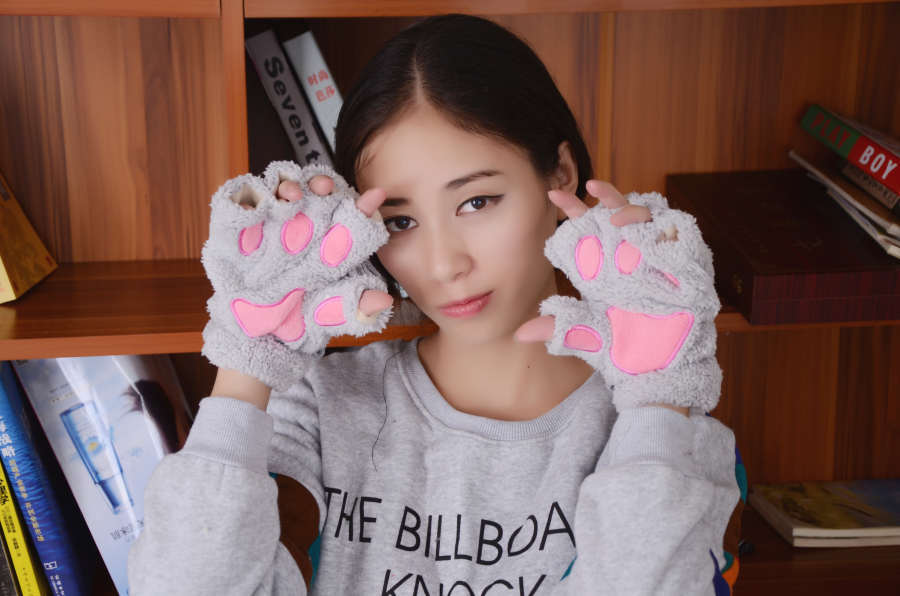 240pair/lot Fluffy Bear/Cat Plush Paw/Claw Glove Soft Toweling Lady's Half Covered Gloves/animal Paw Gloves