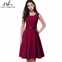 Nice Forever New Brief Elegant Ladylike Vintage Charming With Belt Print Geometry Sleeveless Ball Gown Formal