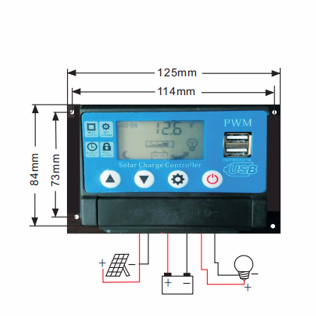 цена на 50A Solar Panel Controller Battery Charge Regulator 12V/24V Auto Dual USB Protection Solar Controllers Mayitr