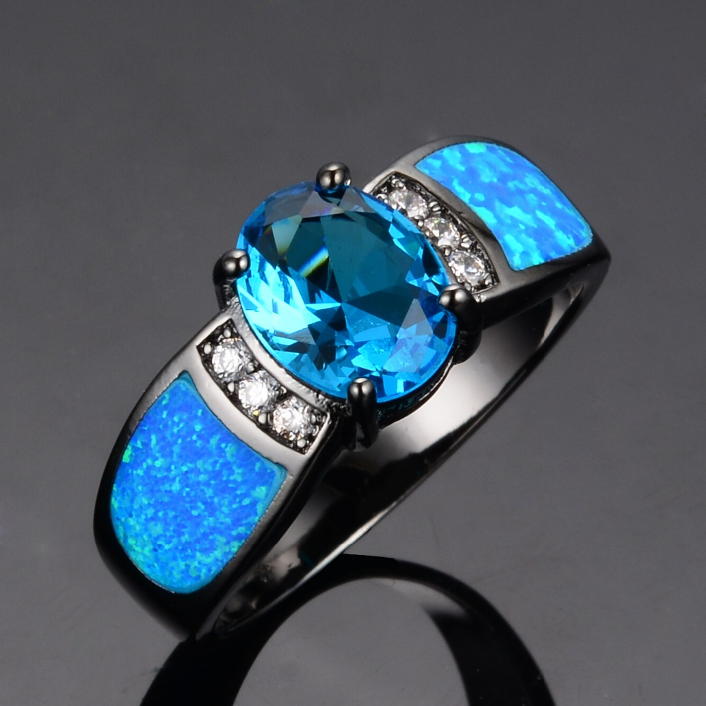 Bamos Jewelry Women Wedding Ocean Blue Opal Rings Black Gold Filled Fashion Engagement  Ring Anel Feminino