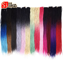 Silike 24 tum Ombre Senegalese Twist Hair Crochet 30 Roots Syntetisk Crotchet Braiding Hair for Women 1 pack / lot 95g