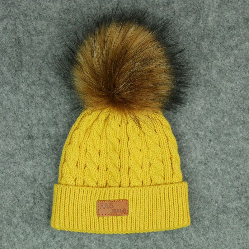 Fashion Baby Girls Boys Winter Autumn Warm Pom Pom Hat Children Caps Beanie Fur Pompom Kids Knitted Unisex Cartoon Hats 1-6Years autumn winter beanie hat knitted wool beanies cap with raccoon fox fur pompom skullies caps ladies knit winter hats for women