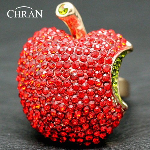 Chran Wholesale New arrival Gold Color Cute Red Apple Shape Party Ring For Women Best Jewelry