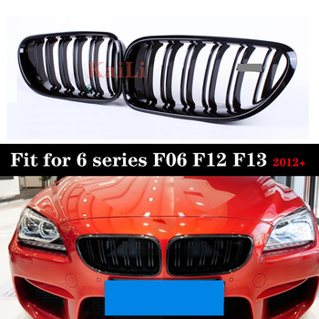 ABS Kidney Grills For BMW 6 Series F06 F12 F13 640i 650i 2012-IN Gloss Black Racing Grille image