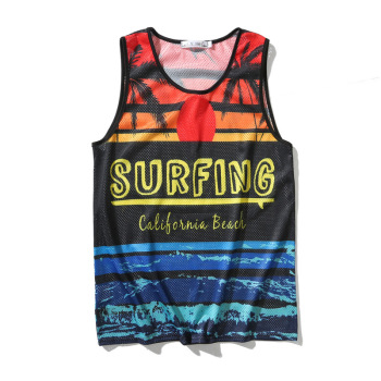New Men Surf Tank Tops Sleeveless Shirt Summer Mesh Breathable Beach Wear Sunset Beach Printed Vest Boards Undershirt Jersey  1