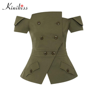 Kinikiss Fashion Army Green Jacket Tops Button Sexy Off Shoulder Slash Neck Turn Down Collar Jackets