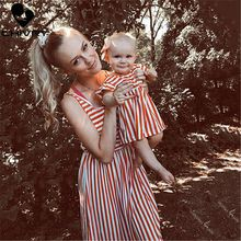 Chivry New Mother Daughter Dresses Sleeveless Striped Print Dress Mom and Daughter Sundress Family Matching Outfits Clothes family look clothes brand european black rose pleated a shape sleeveless skirts women midi sundress mother and daughter dresses