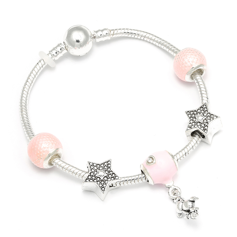 European Style Friendship Charm Bracelet Murano Glass Charm With Bear and Star Charm Pandora Beacelets & Bangles For Women