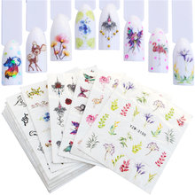 Wuf 12 Pcs Nail Sticker Bloem Elegante Watermerk Slider Sets Kleurrijke Polish Decals Wraps Voor Manicure Nail Art Accessoire(China)