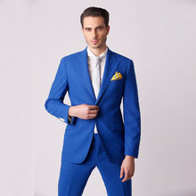 Royal Blue Prom Suits Men Wedding Blazer Peaked Lapel Custom Costume Homme Slim Fit Terno Masculino 2Piece