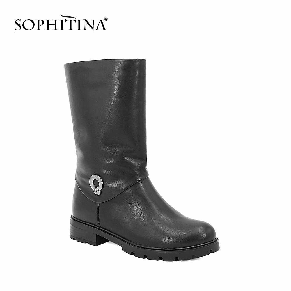 SOPHITINA Cow Leather Winter Women Boots Metal Decoration Mid-Calf Zipper Boot Wool Fur Genuine Leather Low Heel Shoes Women B47