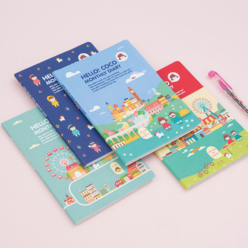 2018 Cartoon Monthly Planner 13*19cm Colorful Sheets Scheduler 64P Free Shipping Korean Fashion Stationery floral flamingo theme creative 2018 weekly planner band journal notebook 13 9 19 4cm korean fashion scheduler 192p free shipping