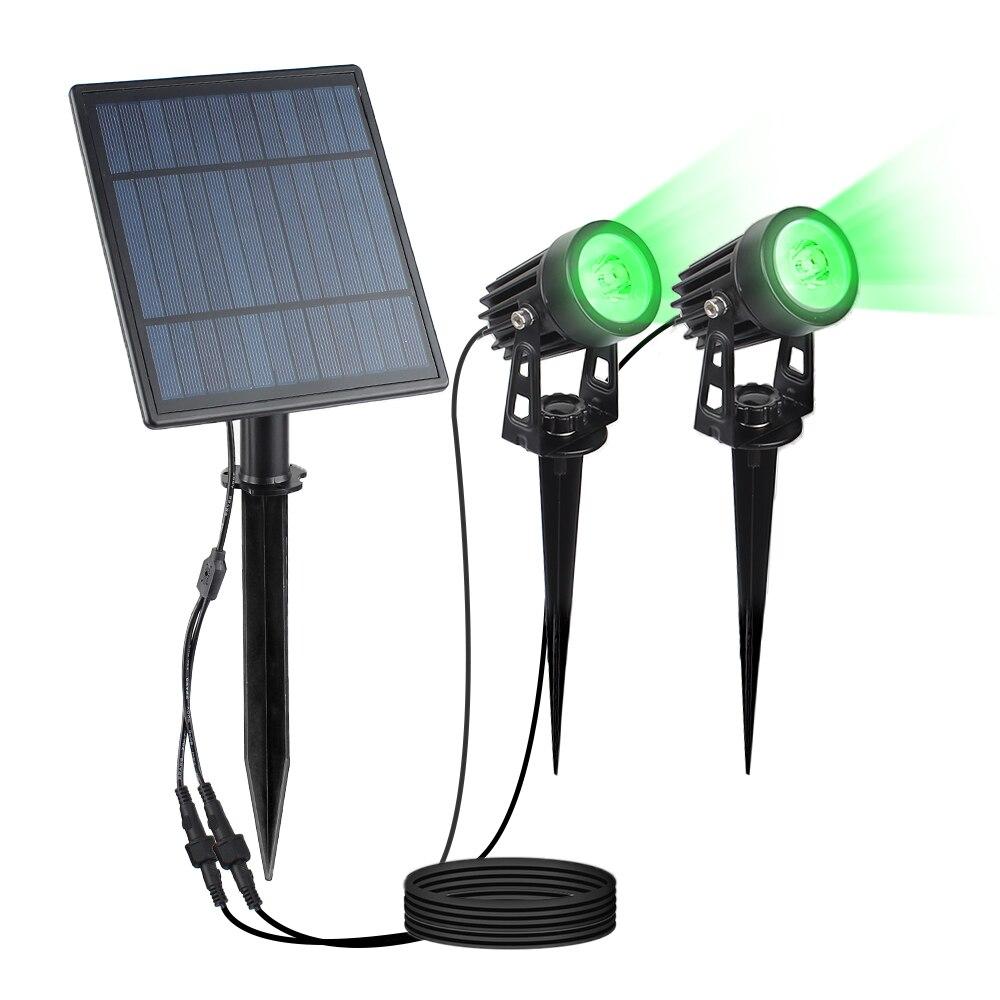 2 w painel solar 2 lampadas dividir extensivel ao ar livre verde holofotes ip65 grau jardim