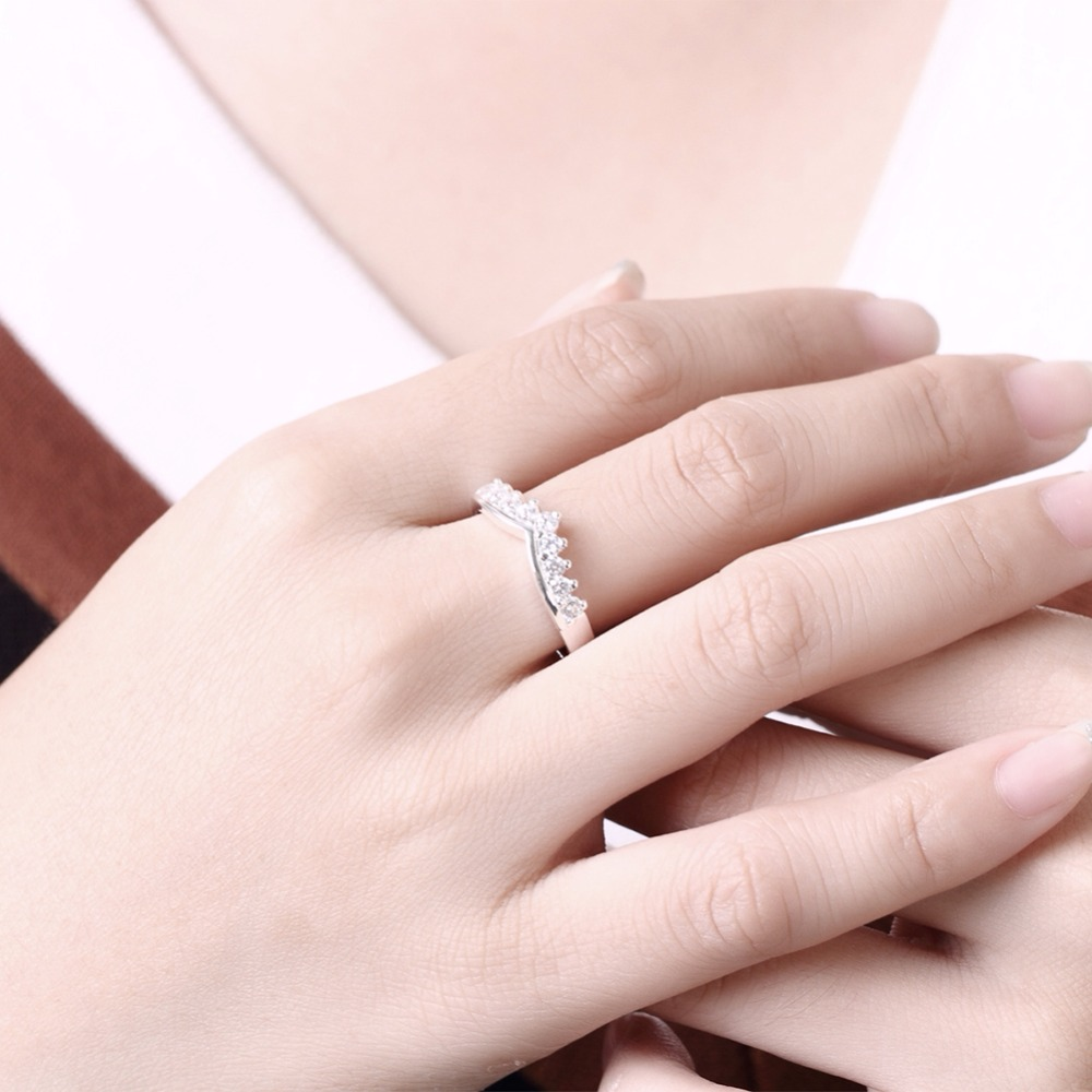 ∞925 pure silver plated Imperial Crown Rings with Micro Paved CZ ...