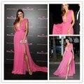 Nueva Miranda-Kerr rosa Sexy profundo escote en v alta raja del lado vestido de la celebridad Festival de Cannes 2015 vestidos de noche vestidos noche CD15