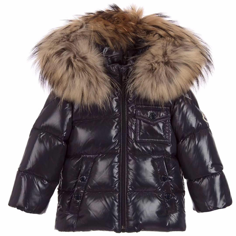 2017 Kids Down Jacket Boys Girls 90% White Duck Down Coat Children Raccoon Fur Hooded Baby Thicken Warm -30 Degrees Clothes Suit kids winter down long jacket boys girls 90% white duck down coat children fox raccoon fur hooded baby thick warm clothes suit