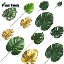 Визуальное прикосновение 12 шт. набор 2 цвета искусственные монстеры Пальмовые Листья зеленые растения Свадебные украшения DIY компоновка растительный лист
