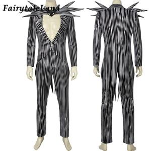 Image 2 - The Nightmare Before Christmas Jack Skellington Cosplay Costume Carnival Halloween Costume Fancy Black Stripe Suit Custom Made