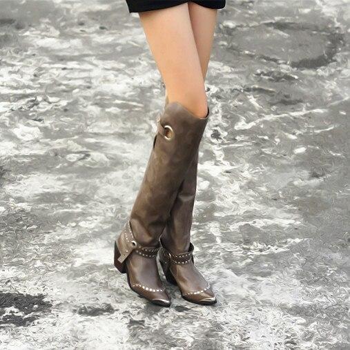 black Spitz Perfetto Plush Heel Niet deep Knie Hohe Leather In Echtem Frauen Grey In Über Black High Herbst Stiefel Das Prova Winter Chunky Leder Aus Oberschenkel In 1qwpEnqBd