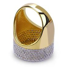 Top quality  Iced Out Bling Ring Gold Color Micro Pave Cubic Zircon Round Rings
