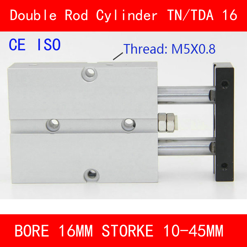 CE ISO TN16 TDA Twin Spindle Air Cylinder Bore 16mm Stroke 10-45mm Dual Action Air Pneumatic Cylinders Double Action Pneumatic kit engineering pneumatic air driven mixer motor 0 6hp 1400rpm 16mm od shaft
