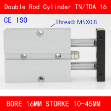 CE ISO TN16 TDA Twin Spindle Air Cylinder Bore 16mm Stroke 10-45mm Dual Action Air Pneumatic Cylinders Double Action Pneumatic sda100 5 b free shipping 100mm bore 5mm stroke external thread compact air cylinders dual action air pneumatic cylinder