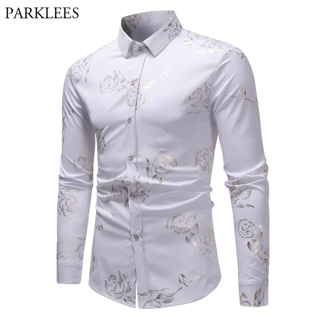 Mens Hipster Gold Rose Printed Shirt 2018 Brand Slim Fit White Casual Long  Sleeve Dress Shirts 7413320253a
