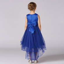 2016 Little Girl High Low Dresses Kids Blue Princess Trailing Girls Sequin Dress Formal Dress Girl Prom Dress Children Clothing