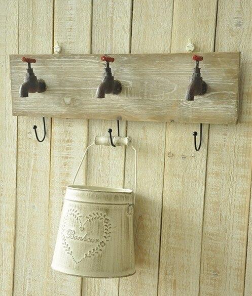 Zakka faire l'ancienne personnalité rétro décoratif robinet de jardin mur crochet/patère mur jardinage épicerie