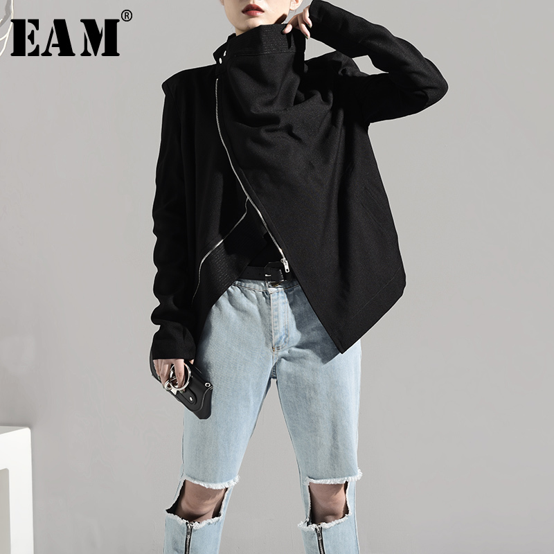 [EAM] 2020 New Spring Autumn Stand Collar Long Sleeve Brief Zipper Personality Loose Short Jacket Women Coat Fashion Tide JI1020