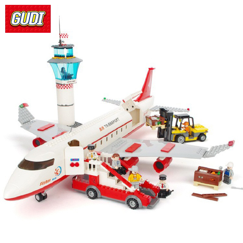 GUDI Building Blocks City Airplane Series DIY Air Bus Aircraft Airport Assembled Bricks Classic Educational Toys For Children gudi new private aircraft passenger airport building blocks bricks boy toy compatible with kids toys for children gift