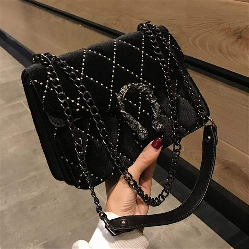 2019 Women Crossbody Handbag High Quality Chain Shoulder Bag Black Famous Brand Female Handbag Diamond Casual Messenger Bag Lady