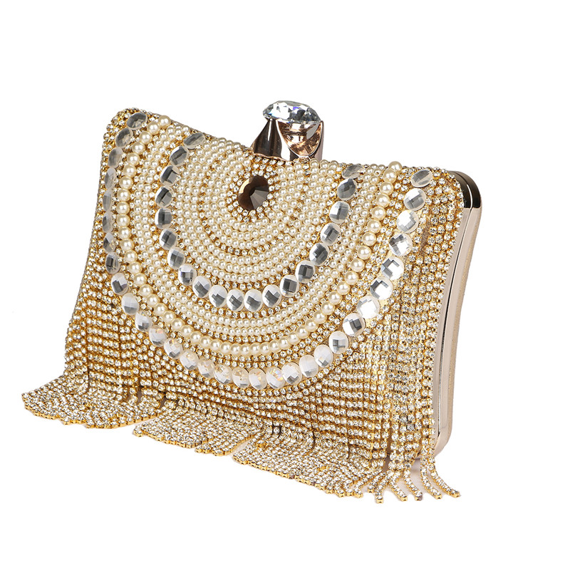 2017 Luxury Designer clutches women Gold Evening Bags Long Chain Tassel Shoulder Bag Wedding Party Rhinestone Clutch Purse L897