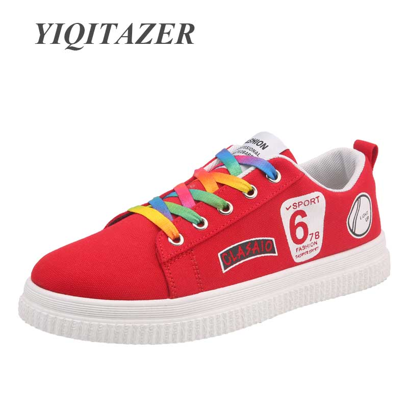 YIQITAZER 2018 Men Casual Shoes adult Spring autumn Classic Fashion Male Lace up Flats Comfortable Couple Canvas Shoes Man