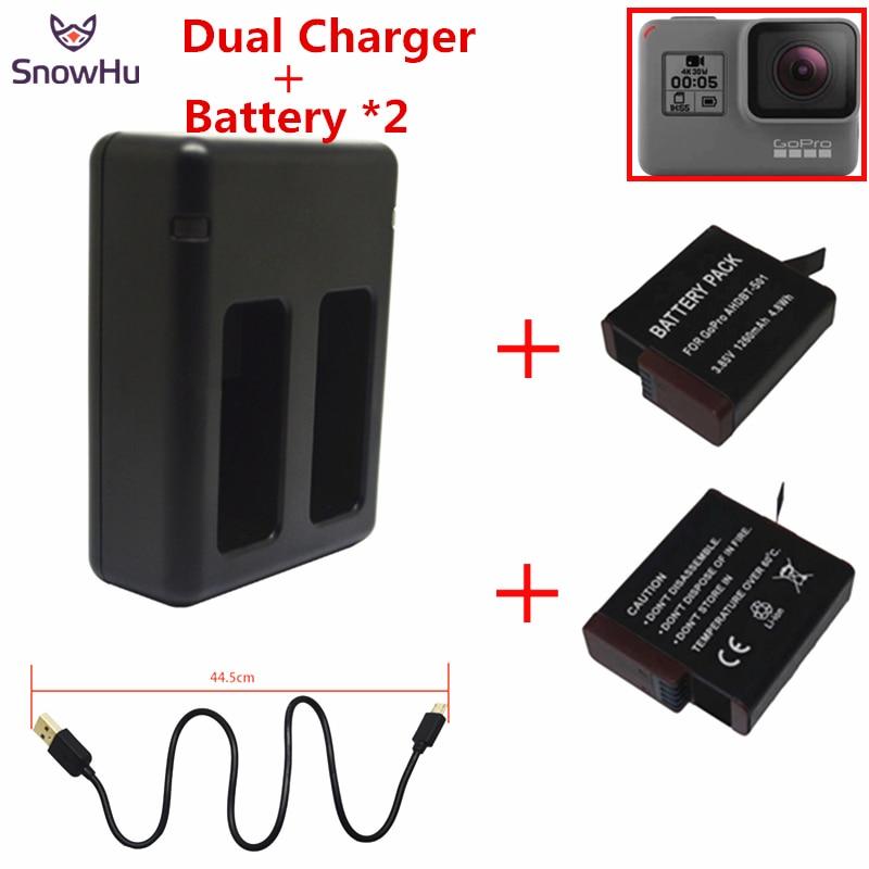 SnowHu pour GoPro Hero 7 6 5 Batterie 2 pcs 1220 mah Pour GoPro 7 6 5 Batterie + USB double Batterie Chargeur Pour GoPro 7 6 5 GP508B