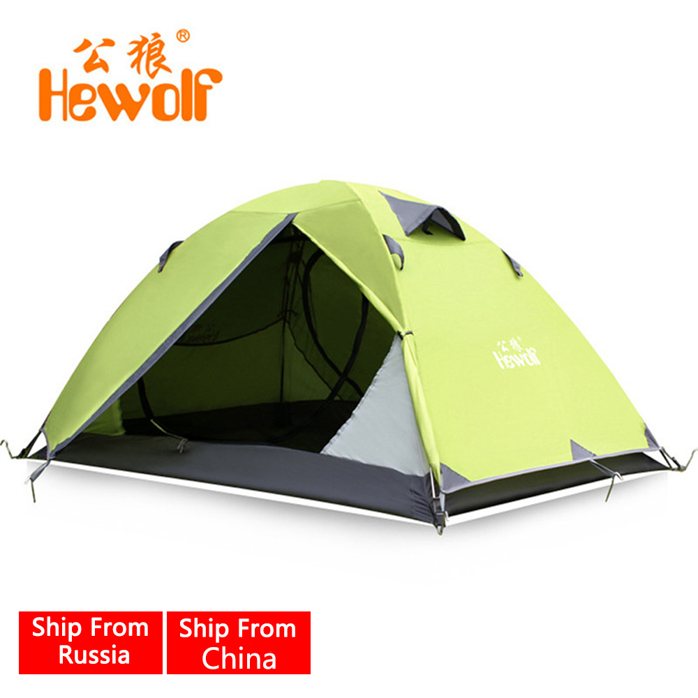 Hewolf Professional Waterproof Outdoor Double Layer 2 Person Tents Hunting Fishing Hiking Beach Tent Camping Equipment hot hewolf waterproof camping tents double layer 3 4 person outdoor family hiking beach travel tent 4 season fishing hunting tent