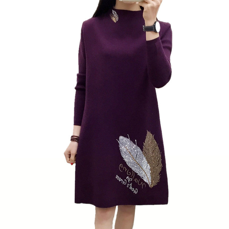 New Autumn Winter Dress Women Long Sleeved Half Turtleneck Knitted Pullover Sweater Dress Plus Size Loose Long Wool Vestidos C22 italian light high quality 2017 autumn winter new brand women s wear national knitted wool sweater dress plus size s xxl 4 color