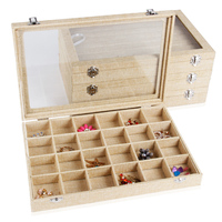 Wholesale Jewelry Case Storage Box With Glass Lid Linen For Ring 7 Row High Quality