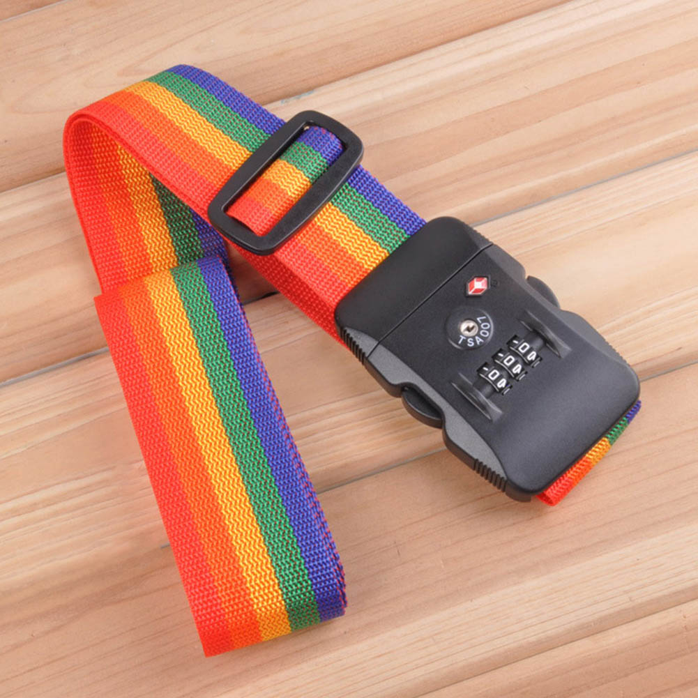 Travel Cross Straps Strong Nylon Belt Suitcase Luggage TSA Three Layer Password Lock Strap FP8