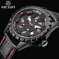 2018 Top Luxury Brand MEGIR New Watch Men Leather Military Watch Clock Quartz Mens Watches Waterproof