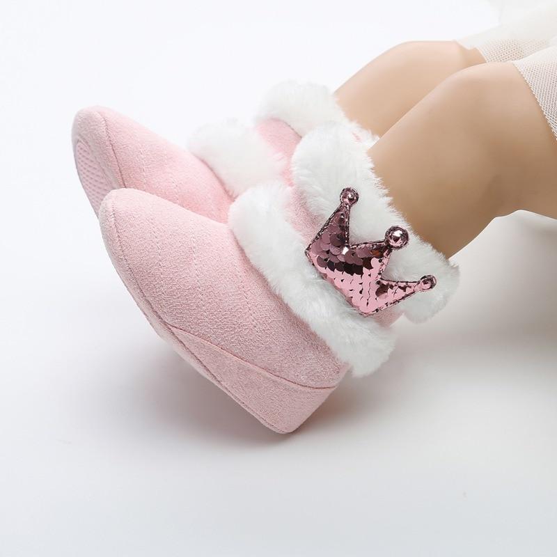 Newborn Infant Baby Girls Winter Warm Crown Fur Mid-Calf Length Slip-On Furry Boots 0-18MNewborn Infant Baby Girls Winter Warm Crown Fur Mid-Calf Length Slip-On Furry Boots 0-18M